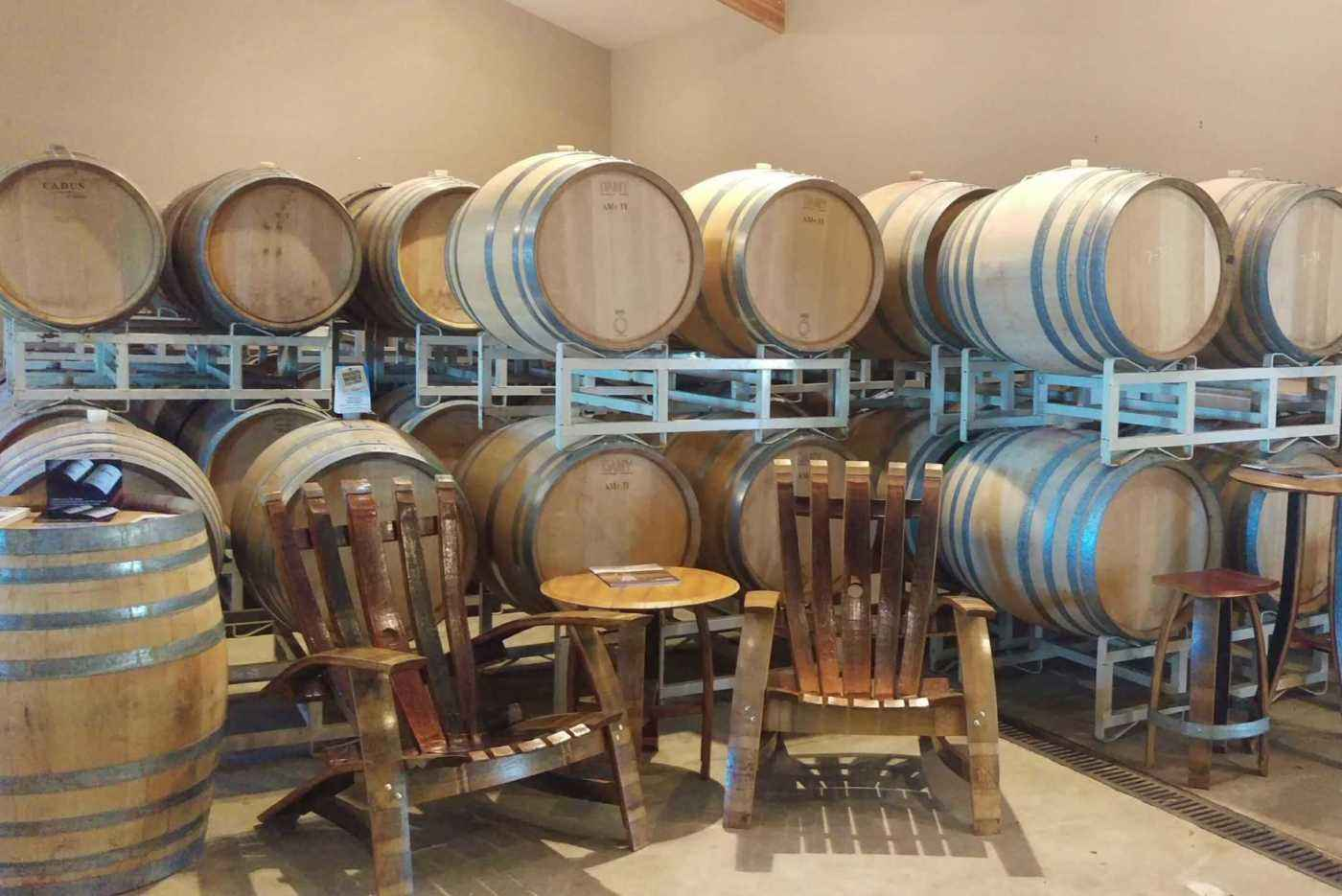 Seating among the wine barrels