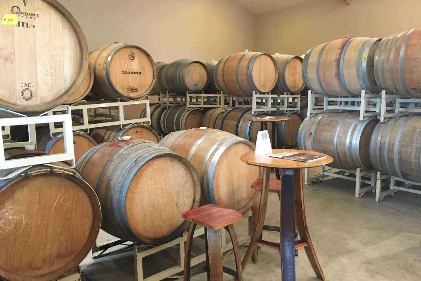 Wine barrels in the Coleman tasting room