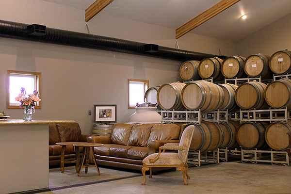 Wine barrels in the Coleman tasting room